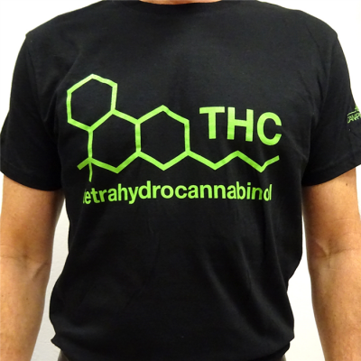 """Black Unisex """"THC"""" T-Shirt By CannaPassion - Why Not, Clothing"""